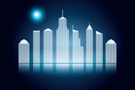 night cityscape. abstract vector background. Vector