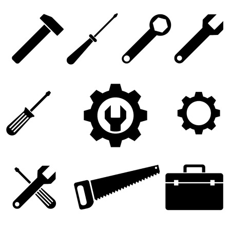 icons of tools. vector set. eps8 Çizim