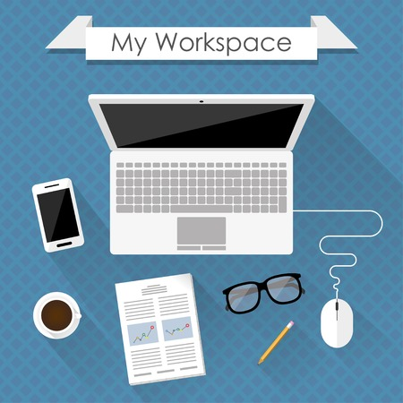 my workspace. flat design concept of business workspace with laptop on a desk. Иллюстрация