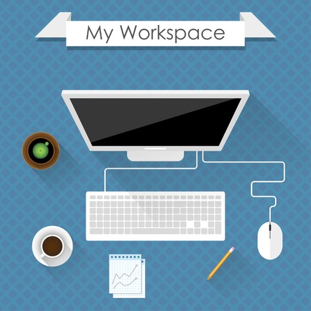 espacio de trabajo: mi espacio de trabajo. dise�o plano concepto de espacio de trabajo de negocios con la computadora en un escritorio.