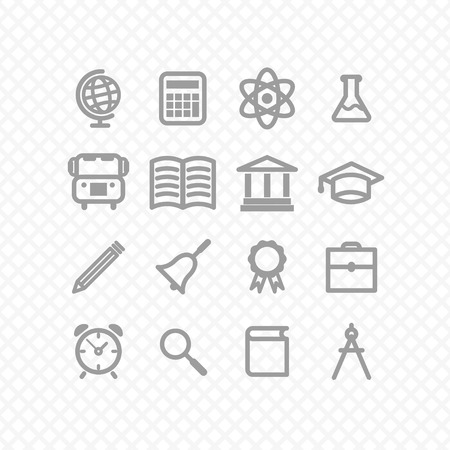 education icons grey. Vector