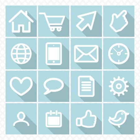 set flat icons in a square frame with shadow. communication. Vector