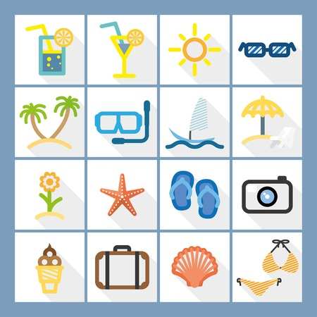 summer set flat icons in color with long shadow.