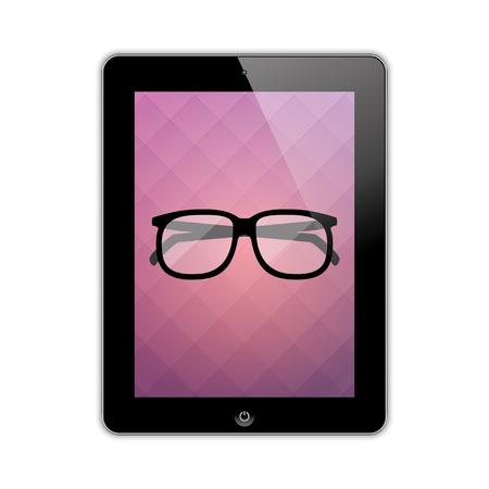 digitized: gafas en el vector eps10 tableta de pantalla
