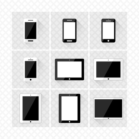 digitized: conjunto de dispositivos electr�nicos con pantallas de smartphones en blanco, tabletas de vector eps10 Vectores