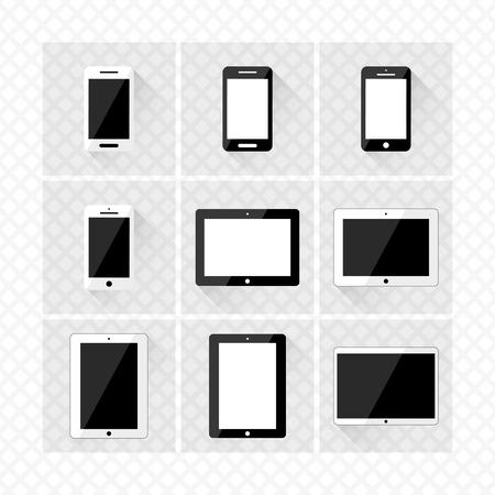 reeks elektronische apparaten met lege schermen smartphones, tablets vectoreps10