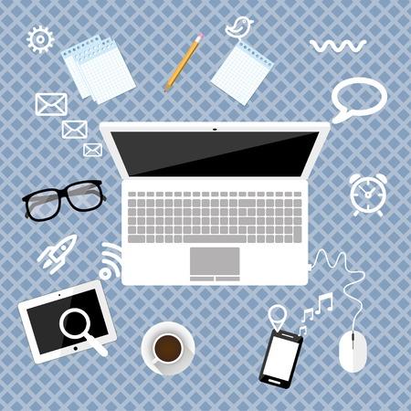 espacio de trabajo: �rea de trabajo de concepto de dise�o del espacio de trabajo plana de negocios con ordenador port�til en un vector eps10 escritorio