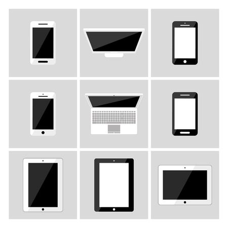 set of electronic devices with blank screens  smartphones, tablets, laptop
