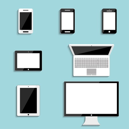 electronic devices with blank screens  smartphones, tablets, monitor PC, laptop  vector eps10
