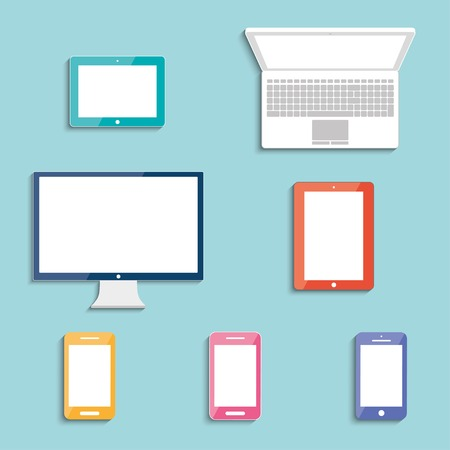 electronic devices with white blank screens in color  smartphones, tablets, computer monitor, netbook  vector eps10 Illustration