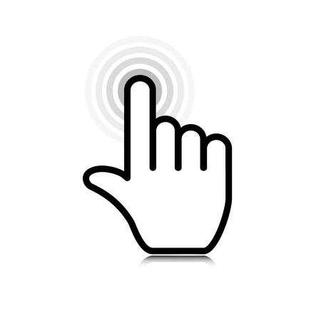 on fingers: haga clic en. puntero del icono de la mano. vector eps10