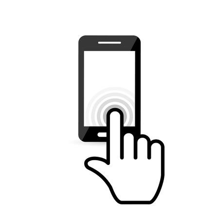Klik op het scherm mobiele telefoon. vectoreps10