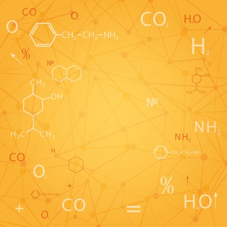 chemists: chemical abstract orange background.   Illustration