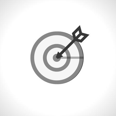 bow arrow: in a bulls eye. vector icon.   Illustration