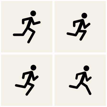 running men icons. vector.   Vector