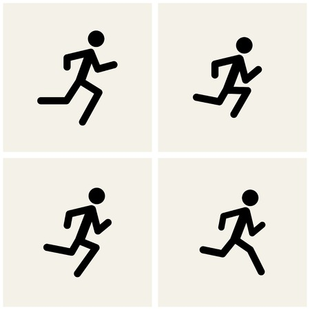 step fitness: running men icons. vector.