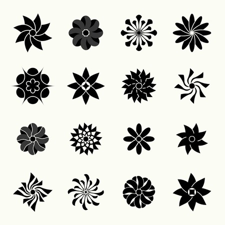 silhouettes of vector flowers. set.  Vector