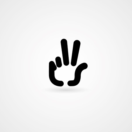 2 objects: hand icon victory sign. vector