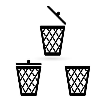 trash basket: trash bin icons. vector  Illustration