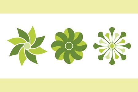 green flowers. vector set 1.  Vector