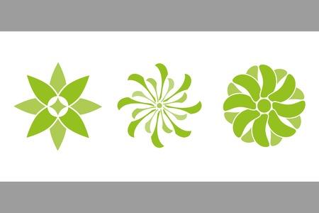 green flowers. vector set 3.  Vector