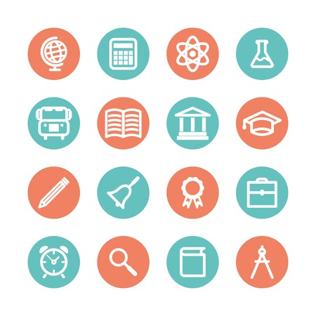 colored flat education icons   Vector