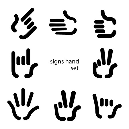signs hand set icons Vector