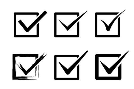 to tick: marque iconos de caja conjunto de vectores.