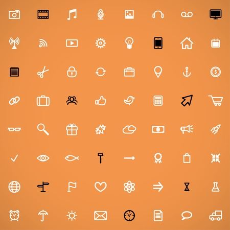 set of 64 line media icons for web and design. can be used as a seamless backgroundvector eps10 Vector