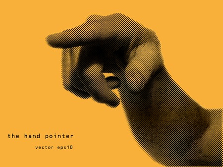 the hand pointer in halftone style orange background. vector eps10 Vector