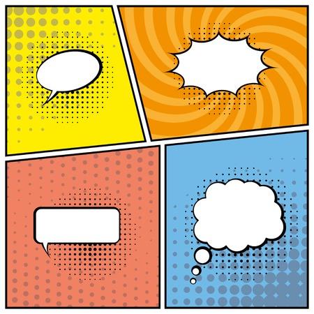 blank comic speech bubbles in pop art style background. vector eps10