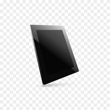 digitizer: illustration of black computer tablet with black blank screen.