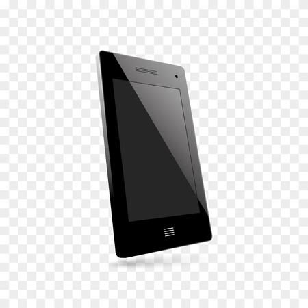 mobil phone: 3d view of realistic modern mobil phone black. vector eps10 Illustration