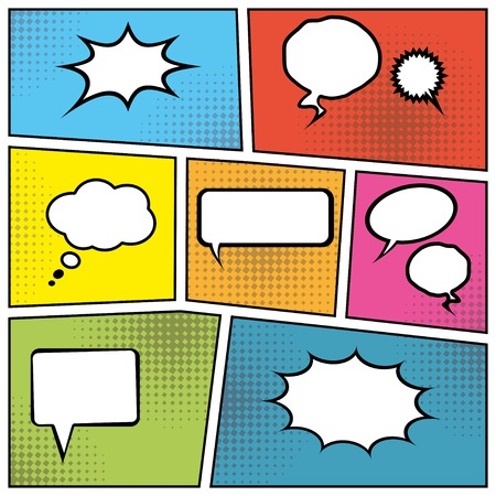 strips: blank comic speech bubbles in pop art style background.