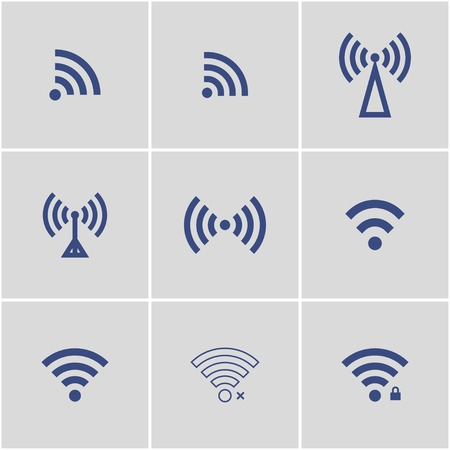 wireless signal: wireless, wifi icons blue.