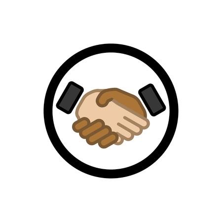 handshake black and white. vector icon.  Vector