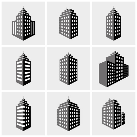 set of building icons in perspective view. vector illustration