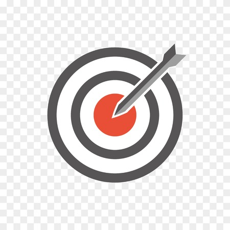 hit the bullseye. dart in the center of a target. vector icon Vector