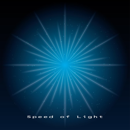 big bang theory: speed of light. scientific blue background.