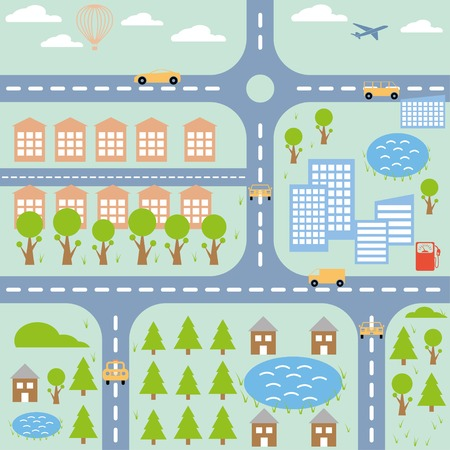 city map cartoon colorful illustration. Vector