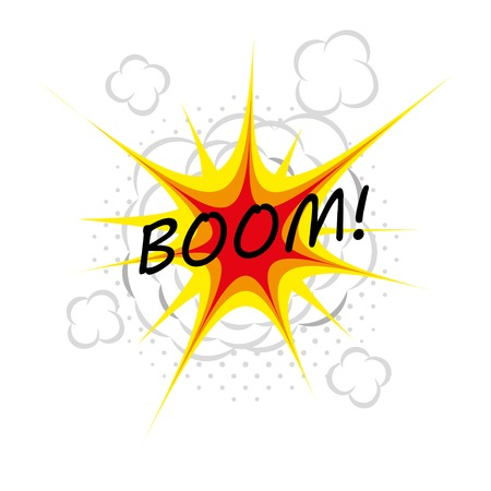 detonated: boom. illustration of comic book explosion.