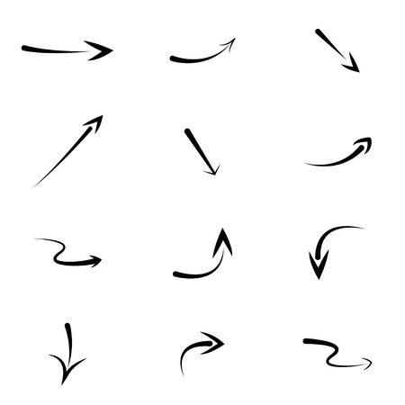 hand drawn arrows vector set. eps8