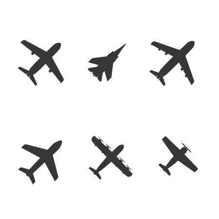 avion de chasse: ic�nes d'avion collection. vecteur. eps8