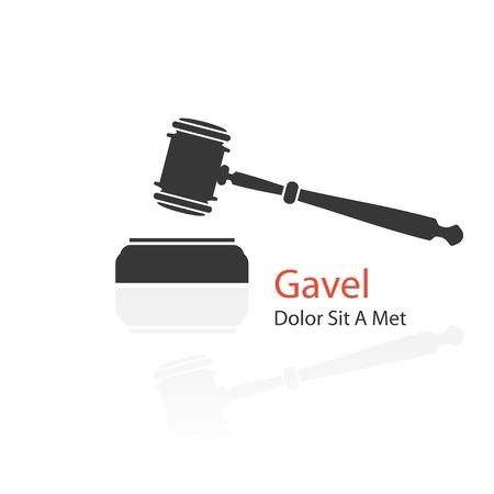 gavel: judge gavel icon on white background. vector illustration