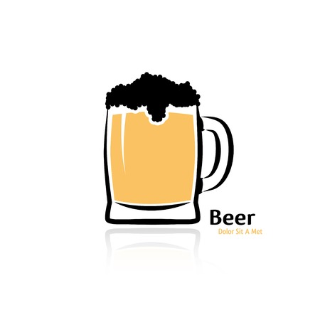 mug of beer on white background. vector Vector