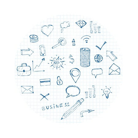 doodles business icons cloud. vector eps8 Vector