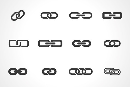 linked services: icons of link. vector set. eps8
