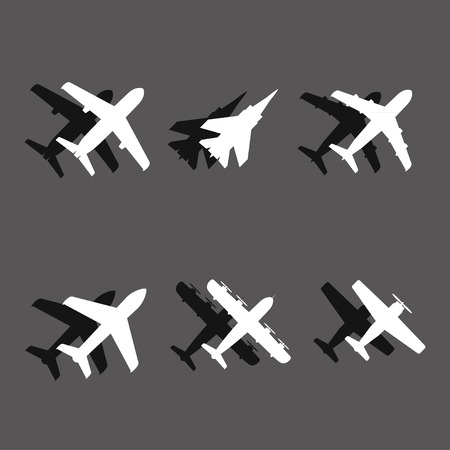 fighter plane: plane icons with shadows. vector. eps10