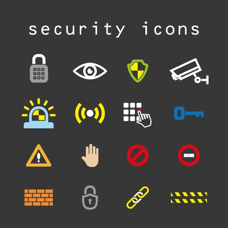 alarm system: security flat color icons vector set. eps10 Illustration