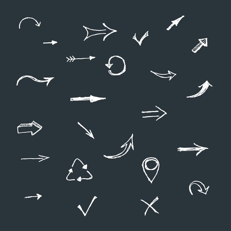 hand drawing arrows vector set